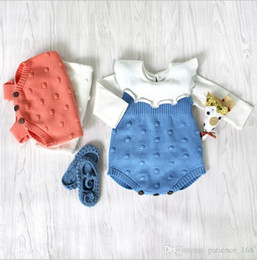Wholesale Baby High Neck Tops - INS 3 colors New fall infant Kids romper Sleeveless ball top baby climbing clothes Knitting wool romper high quality cotton autumn romper