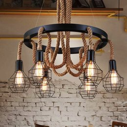 Wholesale Fluorescent Rope Light - Pendant lights creative hemp rope chandelier personalized American style industrial vintage led pendant chandeliers restaurant cafe club bar