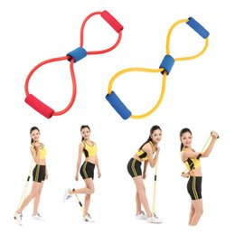 Wholesale Type Band Yoga - Resistance 8 Type Muscle Chest Expander Rope Workout Pulling Exerciser Fitness Exercise Tube Sports Yoga new the same strength