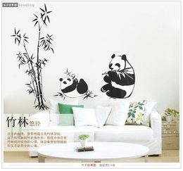 Wholesale Wall Stickers Panda - New Black large size 100*90CM Panda Bamboo Wall Stickers Living Room TV Wall Sofa Removable Home Sticker Wall Sticker Art