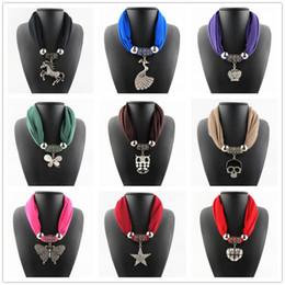 Wholesale Rhinestone Shawls Chains - Rhinestone Horse Pendant Ring Necklace Scarves Jewelry Alloy Beads Tassel Pendant Scarf Shawls For Women 6pcs lot