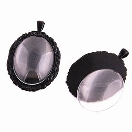 Wholesale pendant blanks wholesale - 3 sets black Cameo 38*58mm(Fit 30*40mm dia) Oval Cabochon Pendant Setting Jewelry Blank Charms + Clear Glass Cabochons D0776-2