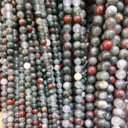 contas soltas de pedra natural 8mm Desconto African Bloodstone 6mm 8mm 10mm Contas De Pedra Naturais Soltos Rodada Beads para Fazer Jóias Atacado Varejo DIY Pulseira Colar