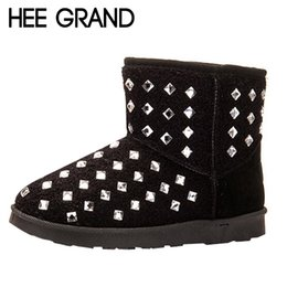 Wholesale Thick Warm Half Slips - Wholesale-HEE GRAND Rhinestone Women Snow Boots Warm Thick Fur Winter Shoes Woman Footwear Anti-slip Short Ankle Boots XWX4504