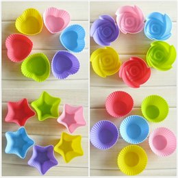 Wholesale Silicone Cupcake Soap - 6pcs lot Silicone Cupcake Baking Cups Molds Colorful silicone mold soap cup chocolate Baking Mold kitchen tool