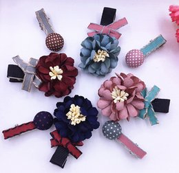 Wholesale Small Baby Headband - hair clips Children small chrysanthemum hairpin hair accessories baby girl flower headband hair bands Little Princess Gift
