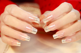 Wholesale Long Finger Nails - 2017 New French 24pcs Silver Slitter Square False Nails Long Full Artificial Nails with Powder Faux Ongle Naturelle