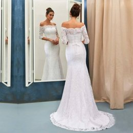 corset half sleeve wedding dress Promo Codes - Elegant Half Long Sleeves Off the Shoulder Full Lace Mermaid Wedding Dresses Corset Back Bridal Gowns Long Sweep Train Wedding Gowns