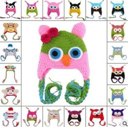 Wholesale Crochet Infant Animal Hats - Owl Caps Cute Animal Baby Hat Winter Crochet Custom Handmade Knitted Infant Toddler Baby Hat Owl Newborn Photography Props