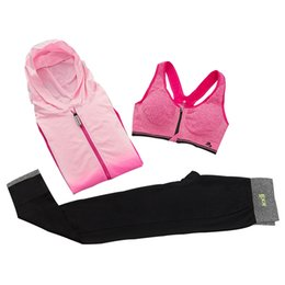 Wholesale Nylon Pants Hiking - 3 Pieces Sports Suit Women Yoga Set Women Hooded Jacket and Bra and Pants Women's Sprots Suits Workout Sportswear Tracksuit