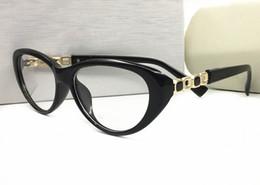 Gato de olho de óculos de marca on-line-Famosa marca original cat eye frames óculos de sol das mulheres oculos quadro óptico óculos feminino lente clara miopia armações de óculos com logotipo