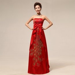 Wholesale Long Chinese Dress Strapless - Red color S-2XL Custom made Chinese tradition Embroidery with bow strapless long evening dress