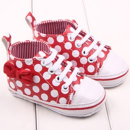 Wholesale Fabric Chic - Wholesale- Chic Girl Slip-On Sneaker Toddler Kid Comfy Polka Dots Pu Leather Baby Shoes 0-12 M
