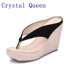 Wholesale pink suede wedges - Crystal Queen Casual Fashion Sandals Shoes Beach Women Sandals Bohemia Wedges Flip Flops Lady Slippers Women Summer Style Shoes