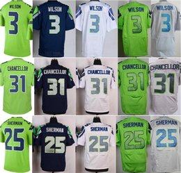 Wholesale Gray White Color - Wholesale Green Color Rush Legend #3 Russell Wilson Jersey Men Elite White Blue Gray #31 Kam Chancellor Stitched #25 Richard Sherman Jerseys