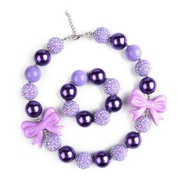Wholesale Kids Jewelry Set Purple - Purple Beads Girl Kids Party Accessories Princess Jewelry Necklace Children Holiday Gift Bowknot Necklace bracelet Set C114