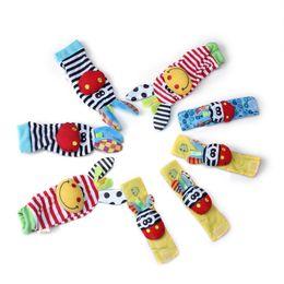 Wholesale Infant Socks Rattles - Kids Baby Socks 4xBaby Infant Soft Toy Wrist Rattles Hands Foots Finders Cute Animals Socks Set