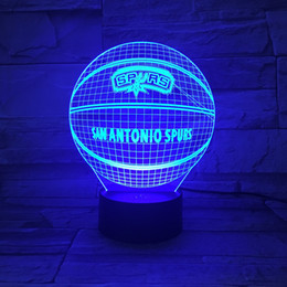 Wholesale Christmas Lights Change Colors - Novelty 3D Lamps Basketball Spurs LED Night Light Creative craft Lamp 7 Colors Changing Touch Switch Indoor Decorative Luminaria