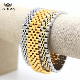 "Wholesale Yellow Gold Filled Jewelry - Stainless Steel Yellow White Gold Plated Crown President Mens Bracelets Hip Hop Watch Link Bracelet 13mm 7.9""in K-Box Jewelry"
