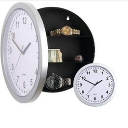 Wholesale Modern Designs Jewelry - Wholesale- Modern Design Mechanical Clock Safe Storage Box Clock Plastic Jewelry Money Hidden Secret Stash Safe Box Wall Desk Clock