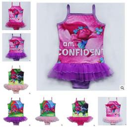 Wholesale Tutu Swimsuits - Girl Swimwear 2017 Summer Kids One-Piece Swimsuit Trolls Onesies Caroon Swimming Clothes Girls Summer Tutu Skirt Swim Bikini Kids Clothing