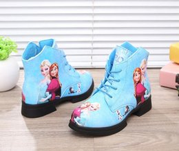 Wholesale Sequin Shoes For Girls - 2016 Autumn Boots for Girls Sewing Design Flat Rubber Antiskid Bottom Children Shoes PU Leather Kids Boots