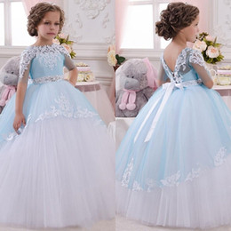 Wholesale Toddler Girl Orange Tutu Dresses - 2017 NEW Baby Princess Flower Girl Dress Lace Appliques Wedding Prom Ball Gowns Birthday Communion Toddler Kids TuTu Dress