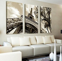 Wholesale Paris Canvas Wall Art - No Frame 3 Pieces set Wall Art Canvas Painting Pictures For Living Room Paris City Eiffel Tower home decor Modern Pictures