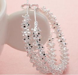 Wholesale Silver Big Round Earrings - Hot sale 6 pairs lot 925 silver plated Fashion exaggerated big circle earrings Female women round earrings floral earrings hoop 40mm*40mm
