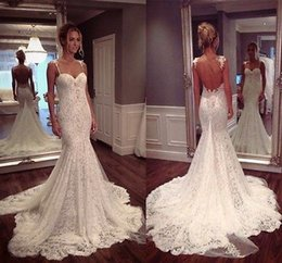 Wholesale Allover Lace - 2017 Vintage Deep Low Back Mermaid Beach Wedding Dresses Allover Lace with Spaghetti Strap Bridal Gown