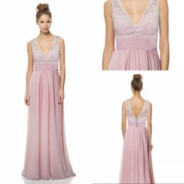 Wholesale Lower Price Bridesmaid Dresses - Low Price A Line V Neck Floor Length Chiffon Lace Top Empire Waist Bridesmaid Dresses Ruched Custom Made Cheap Wedding Party Dresses