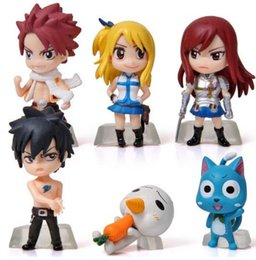 Wholesale Erza Fairy Figure - 6Pcs Set Anime Cartoon Character Fairy Tail Natsu Gray Lucy Erza Figure Action Doll Toys Great Gift