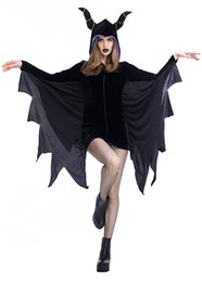 Wholesale Movie Shows - Halloween Cosplay Black Angel Costumes sexy Evil bat Dress Vampire Queen party performance Masque show Clothes wholesale PS005