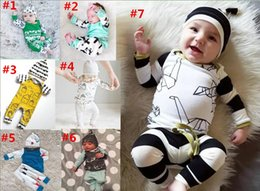Wholesale Outfit Baby Wholesale - 2018 New Spring Kids Clothing Sets INS Boys Clothing Girls Outfits Long Sleeve house printed Rompers + Hats 2pcs Baby Suits Newborn Pajamas