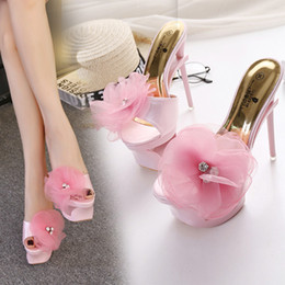 Wholesale Pink Club Heels - Summer super high heel 22cm thin heel single fish mouth shoes sexy club for women's shoes plus size