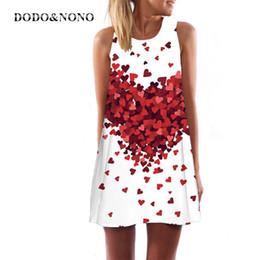 Wholesale Kawaii Mini Dress - Wholesale- 2017 Summer Women Heart Pattern Print Dress Sleeveless O-neck kawaii Casual Beach A-line Dresses Mini Ukraine femme Vestidos