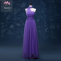 Vestido de dama de honor convertible púrpura online-Popodion elegante tul de longitud completa una línea convertible vestido de dama de honor más el tamaño de dama de honor vestidos púrpura novias vestidos de dama dhROM80014