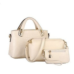 Wholesale Crocodile Leather Big Bag - Wholesale-Famous Brands Handbags 2016 Luxury Elegant Female Big Bags Crocodile Women's PU Leather Handbag 3 Pcs Set Women Messenger Bag