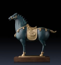 Wholesale Horse Ornaments - Royal Tang Dynasty Horse Copper handicrafts animal Household Chinese crafts gift furnishing articles room Decoration Ornaments