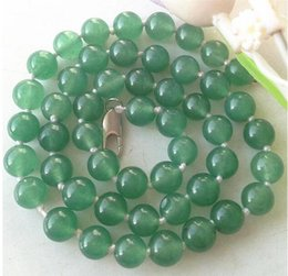 Wholesale Gemstone Tibetan Jewelry - Pearls and jade Tibetan silver jewelry >NEW Natural 10mm round green Jade Gemstone Necklace 18''