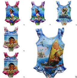 Wholesale Cute Girls Bathing Suits - Girl Swimwear Moana 2017 Summer Baby Girls One-Pieces Cartoon Swimsuit Cute Bathing Suit Kids Baby Clothing DHL Free Shipping