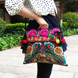 Wholesale Zipper Side Bag - Wholesale-National Chinese Style Canvas Embroidery Bags Double Side Embroidered Shoulder Messenger Bag unique women's Small Square Handbag