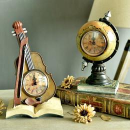 Wholesale Style Table Clock - Wholesale-Europe Retro Telephones Violin Desk Table Clocks Creative Globe Suitcase Saks Model sitting room TV cabinets Bar Cafe Decor