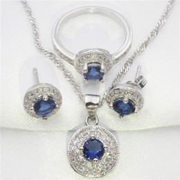 Wholesale Sapphire Engagement Ring Sets - Romantic blue sapphire, white topaz round 925 sterling silver jewelry set women earrings, pendant, necklace, ring free gift