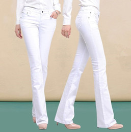 Wholesale White Boot Cut Pants - Wholesale- Spring Autumn Skinny High Waist Jeans Pants Long Korean Fashion Stretch Flared Boot Cut Jeans Women Black White