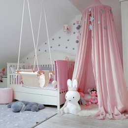 Wholesale Kids Children Curtain - free shpping 2017 Baby Tent Crib Netting Palace Children Room Bed Curtain Hung Dome Mosquito Net Cotton Kids Girls Mantle Nets Tents