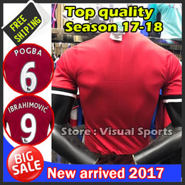 Wholesale united shipping - Player version 2017 2018 best Thai Quality home red jerseys 17 18 UnITED Ibrahimovic MEMPHIS ROONEY POGBA MATA jersey Free shipping