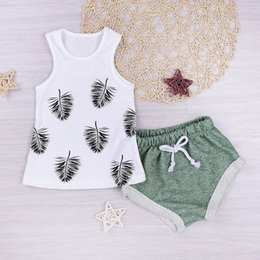 Wholesale Tutu Tank Tops - MIikrdoo 2017 Fashion Baby Clothes Hawaii Beach Style Kids Hot Outfit Newborn Girls Leaf Tank Top T-shirt+Green Shorts Infant 2pcs Set