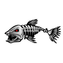 Wholesale Rearview Car Mirror Decal - 2x Fearsome Cartoon Shark Skeleton Car Sticker Reflective Fish Cars Decal On Rearview Mirrors Car Cover Scratches Decals Styling