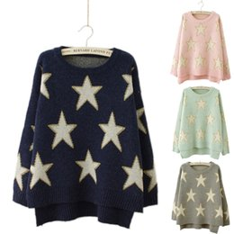 Wholesale Oversized Jumpers - Wholesale- Ladies Jumper Women Wool Sweaters Knitted Sleeve Pullover Autumn Winter Tops Star Pattern Pull Femme Navy Oversized Sweter 16806